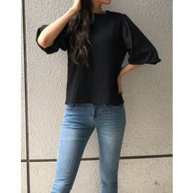 シアーバルーンスリーブTシャツ (ブラック)