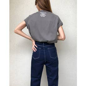 ラグランハイネックプリントTシャツ (チャコールグレー)