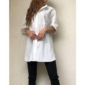 T/Cブロードショルダータックバンドカラー半袖シャツ (オフホワイト)