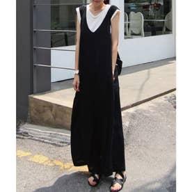 フレンチスリーブTシャツ+ワイドパンツサロペットセットアップ (ブラック)