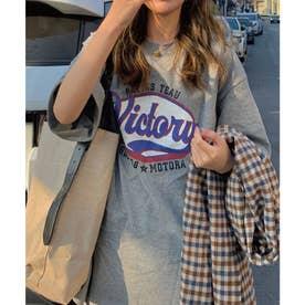 ストリートプリントロゴカットTシャツ (グレー)