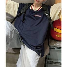 フェイクレイヤード配色半袖ポロシャツ (ネイビー)