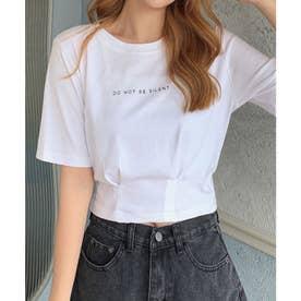 ウエストタックワンポイントロゴプリントショートTシャツ (ホワイト)