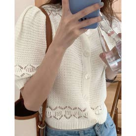 5分袖透かし編みサマーニットカーディガン (ホワイト)