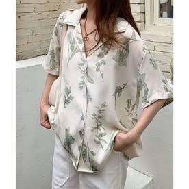 ボタニカルリーフ柄5分袖開襟シャツ (グリーン)
