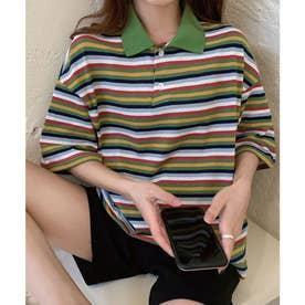 ビックシルエットレインボーカジュアル半袖ポロシャツ (グリーン)