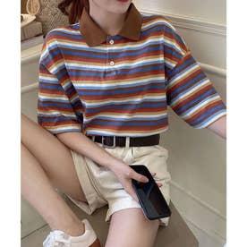 ビックシルエットレインボーカジュアル半袖ポロシャツ (ブラウン)