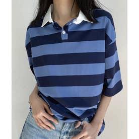 ワイドシルエットボーダーポロシャツ (ブルー)