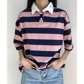 ワイドシルエットボーダーポロシャツ (ピンク)