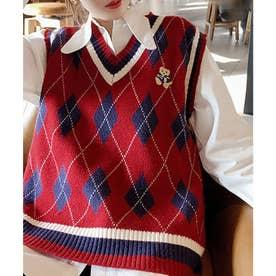 配色アーガイル柄ワンポイントクマ刺繍ニットベス (レッド)