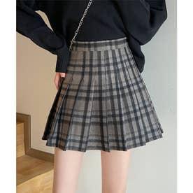 韓国風チェック柄プリーツミニスカート (ブラウン)