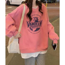 VANDELAYフェイクレイヤードオーバートレーナー (ピンク)