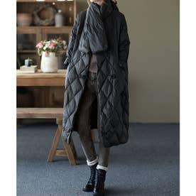 キルティング中綿コート+同素材ショール セットアップ (ブラック)