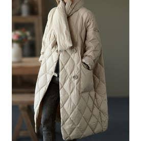 キルティング中綿コート+同素材ショール セットアップ (ベージュ)