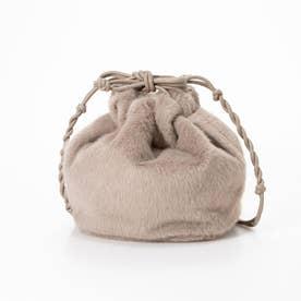巾着型ファーバッグ (グレー系)