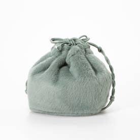 巾着型ファーバッグ (緑系)