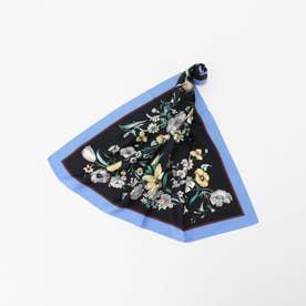 花柄スカーフ (青系)