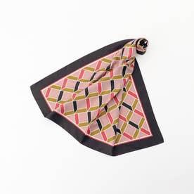 幾何学柄スカーフ (グレー系)