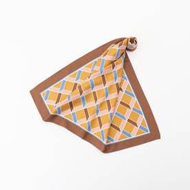 幾何学柄スカーフ (茶系)