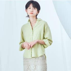 カラーフレンチリネン美人シャツ (ライトグリーン)