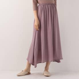 サテンギャザーレイヤードスカート (パープル)
