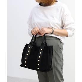 パール装飾トートバッグ (ブラック)