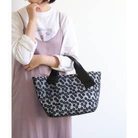 花刺繍PVCトートバッグ (ブラック)