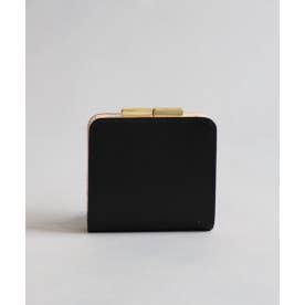 レザー スリム二折り財布 (ブラック)