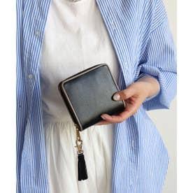 牛革 パイピング二つ折り財布 (ブラック)