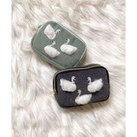 スワン刺繍 スクエアミニポーチ (グレー)