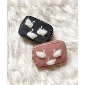 スワン刺繍 スクエアミニポーチ (ピンク)