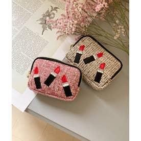 リップ刺繍 スクエアミニポーチ (ピンク)