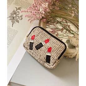 リップ刺繍 スクエアミニポーチ (ブラウン)