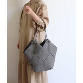 編み込みトートバッグ (チャコール)