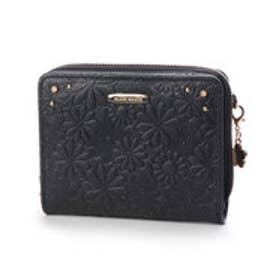 エルフィーシリーズ パールラメ牛革二つ折り財布 (ブラック)