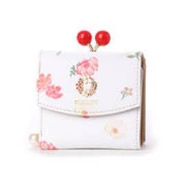 デイシー 花柄ガマ口3つ折り財布 (レッド)