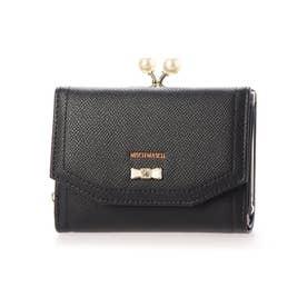 パウダーシリーズ リボンブローチ付きがま口折り財布 (ブラック)