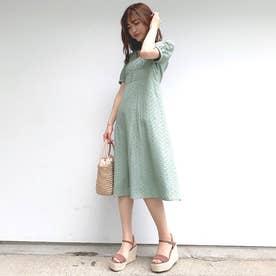 綿刺繍レースワンピース (ライトグリーン)