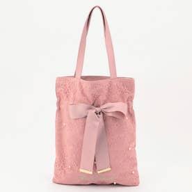 パール装飾レースサブバッグ (ピンク系)