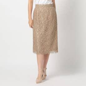 《田中みな実さん着用》合皮テープ付レースタイトスカート (モカ)