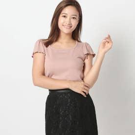 スクエアネックリブTシャツ (ピンク)