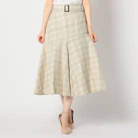チェック柄裾フレアスカート (ベージュ)