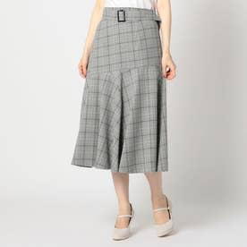 グレンチェック裾フレアスカート (クロ)