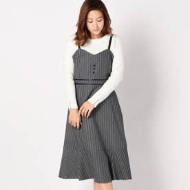 合皮パイピングジャンパースカート (クロ)
