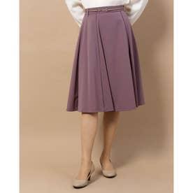 ビットベルト付フレアースカート (紫系)