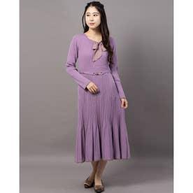 《田中みな実さん着用》リボン付き配色ニットワンピース (紫系)