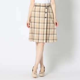 パイピング台形スカート (ベージュ)