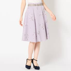 ビットベルト付き花柄スカート (ラベンダー)