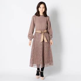 リブニットワンピース+プリーツスカート (モカ)