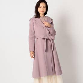 ショールカラーフードコート (紫系)